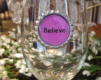 Stemless Wine Glass Charms - Set Of 8 - Inspirational words - vibrant colors - stemware wine charms with hoops available upon request