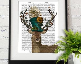 Deer Print - Mad Hatter Deer - Deer illustration deer Print Wall Art Wall Décor Wall Hanging Whimsical art Living room art print