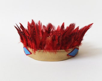Red feather crown, Indians crown, hair ornaments, Squaw