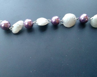 Purple pearl and seashell bracelet