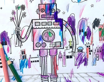 Coloring book page - robot, modern city, black and white, LineArt Instant Download Printable,Digital Illustration