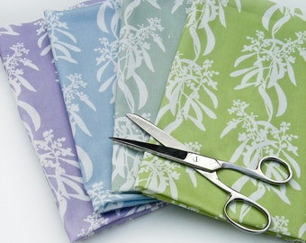 Fabric Fat Quarters x4 Quilting Weight Cotton (One Yard) - Acacia Repeat in Cypress Green, Sage Green, Cornflower Blue and Lilac