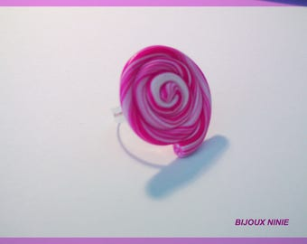 Rolled rose polymer clay lollipop ring