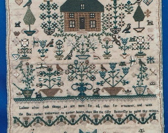 Maria Theresa Wilkinson 1825 English Sampler by Scarlet Letter Counted Cross Stitch Pattern/Chart