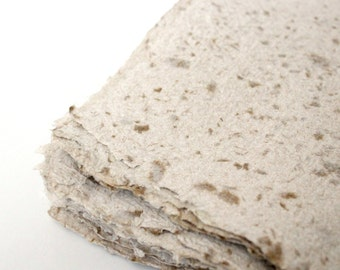 Handmade Paper - Recycled - 5 Brown/Kraft White Flecked Pages- Great for Cards, Stationery, and Invitations