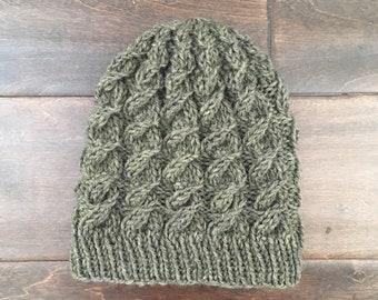 Children's olive green cable winter hat beanie