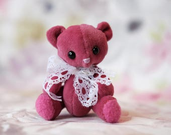 Ruby, miniature artist bear, little pink teddy bear, handmade plush bear, moby and puddle, by samantha webb, collectible teddy