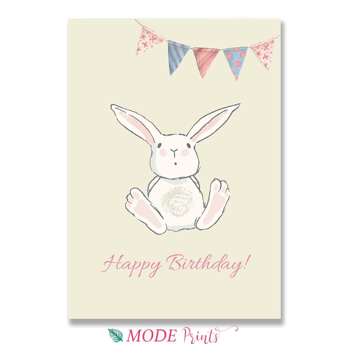 Happy Birthday Card Blue Pink Unisex Bunny Birthday Card For