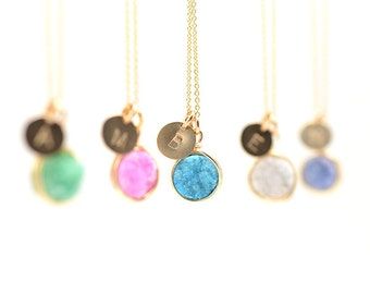 Personalized Druzy Necklace | Gold Hand Stamped Initial Necklace with Wire Wrapped Druzy Quartz | Choose Color & Letter - Ships in ONE Day