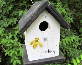 Primitive Birdhouse White Black Yellow Bumble Bee Wooden Rustic Country Hanging Handmade Birdhouse