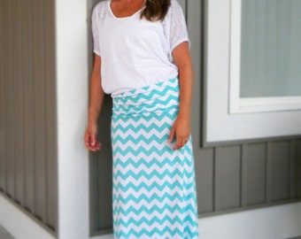 The Chevron Maxi Skirt -- Women's Maxi Skirt -- Jersey Cotton Knit Skirt -- You Chose the Color -- Custom Made