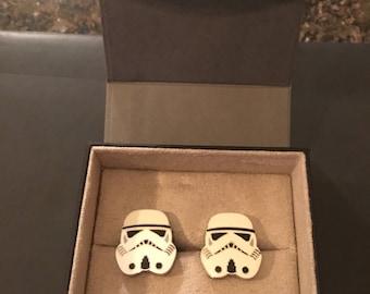 Star Wars Storm Trooper Helmet Cufflinks New in Box