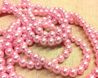 Set of 20 round glass beads - Pink mother of Pearl - 8 mm T3