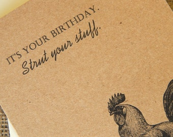 Rooster Birthday Card  |  Vintage Rooster Birthday Card