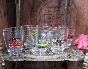 Car Shot Glasses, Vintage Shot Glasses, Shot Glass Set, Tot Glasses, Vintage Glasses, Six Shot Glasses, 1970s, Classic Cars, Motoring Gift