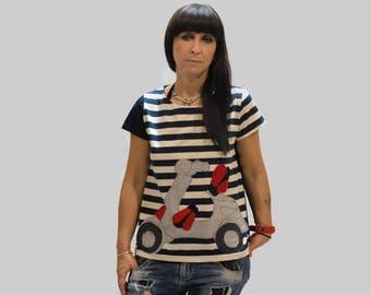 Navy blue women T-shirt with scooter/ navy blue top with stripes/ women summer T-shirt/ organic cotton T-shirt/ short sleeves T-shirt