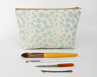 Dots Screen Printed Zipper Pouch, Makeup Bag, Handmade Bag, Handprinted, Mint Green Spots, Polka Dots