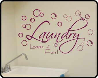 Laundry Room wall decal - Fun and attractive vinyl laundry room decor. Two sizes available!