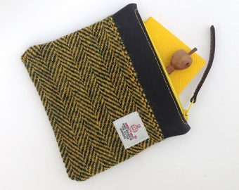 Harris Tweed Yellow Black Zip Bag