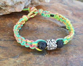Mens Hemp Bracelet, Skull Rasta Bracelet, Skulls, Gift for Him, Mens Jewelry, Gift, Hemp Bracelet, Rasta, Mens Fashion, Guys Rasta Bracelet