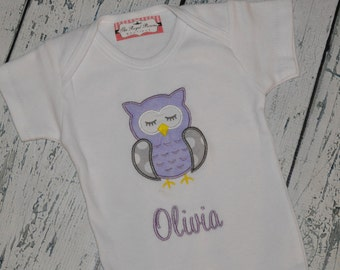 PERSONALIZED Owl Bodysuit Monogrammed