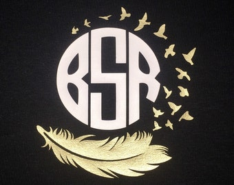 Feather monogram shirt