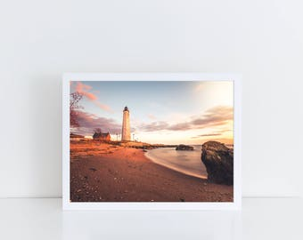 Lighthouse Print, Ocean Print, Sunset, Wall Decor, Digital Download, Wall Print, Lighthouse Photo, Canvas Prints