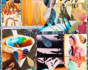 Giclee, ALOHA DROPS Hawaii, 8x8 and Up, Aloha, Print on Canvas, Hawaii, Shave Ice, surf, sunset, surfboards, Aloha, wall Art, Ocean Art