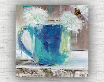 Floral Painting Print of Still Life Oil Painting Flowers Home Decor Wall Art - Blue Kitchen Wall Decor, Shabby Chic Dining Room Art Print