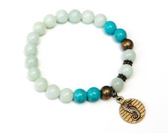 Amazonite bracelet, sea horse bracelet, beach bracelet, ocean bracelet, sea side bracelet, ocean jewelry, ocean inspired, beach inspired