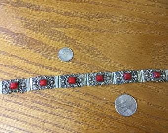 Vintage Sterling Mexican Coral Panel Bracelet