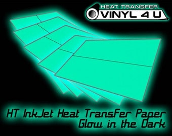 HT InkJet Heat Transfer Paper - Glow in the Dark (White/Light Fabric)  8.5 x 11