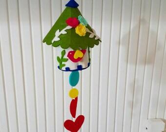 Colorful Felt Birdhouse Hanging, Ornament Green