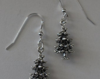 Sterling Silver 3D CHRISTMAS TREE Earrings - Holiday