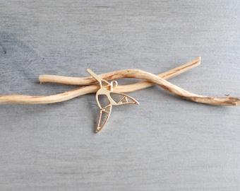 bird fly origami pendant gold