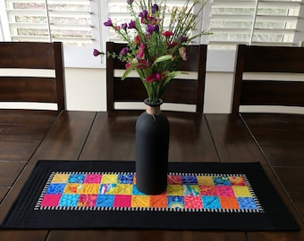 Colorful Table Runner, Quilted Table Runner, Modern Table Runner, Patchwork Table Runner, Home Decor