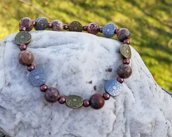 Beaded Stretch Stack Bracelet - Leopard Jasper Beads ~Copper/Gold/Silver