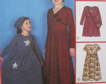 UNCUT Girls Dress in Two Lengths and Bag - Size 7, 8, 10 - McCalls Pattern 2880