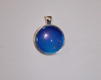 Granulated Navy and Aqua Blue Orb Necklace