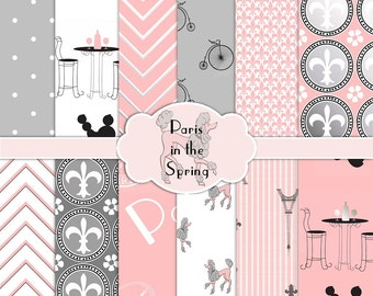 Paris in the Spring Digital Paper Pack | Eiffel Tower Poodle Fleur di Lis Cafe Bicycle | Pink Grey Silver | Instant Download