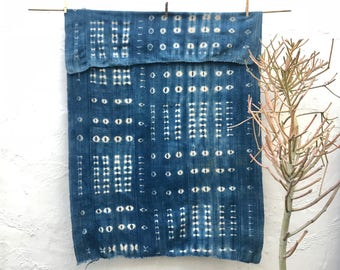 Vintage African Indigo Textile Indigo Throw Vintage Textile African Indigo Fabric Indigo Cloth Wall Hanging Hand dyed indigo mudcloth #191