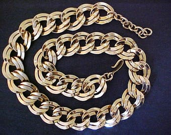 Monet Gold Double Link Choker Necklace vintage heavy wide adjustable