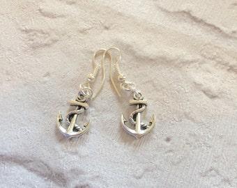 Silver Anchor Earrings, Silver Earrings, Nautical Earrings, Maritime Earrings, Anchor Earrings, Rockabilly Earrings, Silver Drop  Earrings.