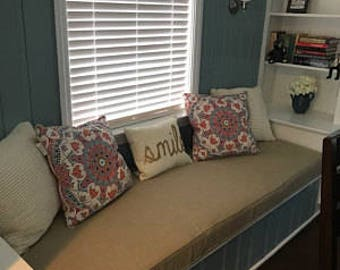 Custom Size Window Seat/Bench Cushion | Mudroom Cushion | Reading Nook Cushion | Seat Cushion | Kitchen Banquette Cushion | Seat Pad Cushion