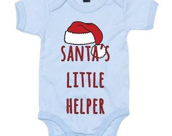 Santa's Little Helper Christmas Cute Babygrow - Free UK Delivery
