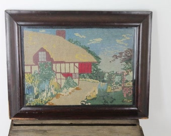 Vintage Barn Needlepoint/ Country House Needlepoint/ Vintage Needlework/ Vintage Tapestry/ Vintage Sewing/SALE (1L)