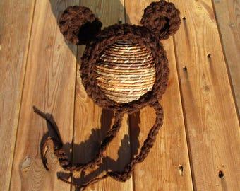 Newborn Bear Bonnet,Baby Bear Bonnet,Crochet Bear Bonnet,Brown Bear Bonnet,Newborn Photo Prop,Baby Bear Hat,Baby Hat,Newborn Bear Hat