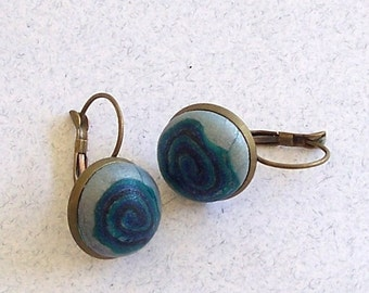 Teal Bullseye Iridescent Patterned Polymer Clay Earrings by Carol Wilson of PollyClayDesigns