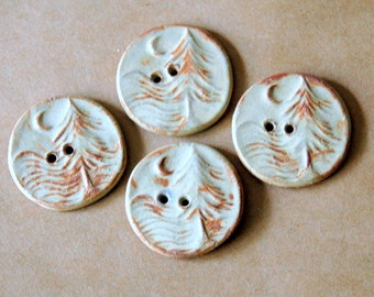 4 Handmade Ceramic Buttons - Moon over Cedar Buttons -  Rustic Rust Buttons in Stoneware