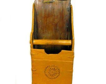 Antique Primitive Carved Grain Scoop Mustard Gold Wall Storage